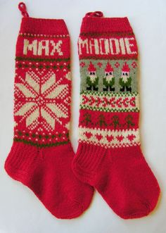Hand Knitted Christmas Stockings | Hand knit Christmas Stocking with snowflake. Repinned by www ...