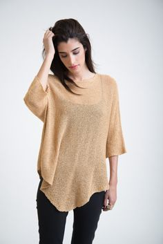 Loose Top / Asymmetrical Oversized Blouse / Casual by marcellamoda