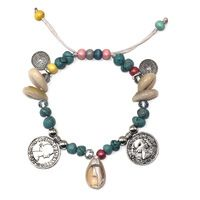 2017New Europeia Boho Jóias artesanais pulseiras shell coin charme Turquesa Frisada Strand Pulseira para mulheres