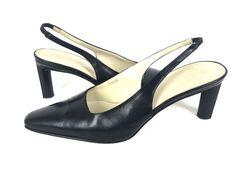 J CREW Heels 7 Black LEATHER Slip On Shoes ITALY Womens #JCrew #PumpsClassics…