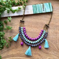 Layered Tassel Necklace / Purple & Turquoise Pastel Colours Necklace / Multistrand Necklace #etsygifts #layerednecklace #shopping #etsy