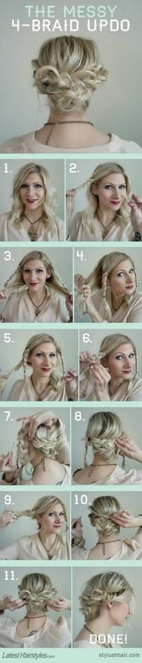 The messy 4 braid updo. Great for fixing bad hair days for medium length and long hair.