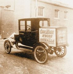 """Sort of a van/car crossover, this Model T Ford was used as a """"company car"""" for salesmen to deliver OshKosh samples Antique Trucks, Vintage Trucks, Old Trucks, Vintage Auto, Ford Motor Company, Station Wagon, Classic Trucks, Classic Cars, Old Fords"""
