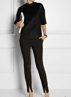 For work, sexy work outfit, office fashion, work fashion, fashion Sexy Work Outfit, Work Attire, Office Outfits, Casual Outfits, Work Outfits, All Black Outfits For Work, Fashion Outfits, Sweater Outfits, All Black Style