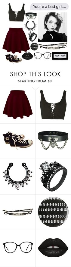 """"" by xxkrysxx ❤ liked on Polyvore featuring Topshop, Converse, Hot Topic, GlassesUSA, Lime Crime, Inglot, Dark, grunge and ddlg"