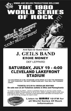 Bob Seger & the silver Bullet Band, J Geils Band, Eddie Money & Def Leppard. Rock Posters, Band Posters, Music Posters, Cleveland Concerts, Cleveland Ohio, Norman Rockwell, Music Mix, Art Music, 70s Rock And Roll