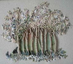 Des arbres ajourés ~Francine Leclercq's Embroidered trees Silk Ribbon Embroidery, Beaded Embroidery, Embroidery Stitches, Embroidery Patterns, Hand Embroidery, Machine Embroidery, Textile Fiber Art, Creative Embroidery, Thread Painting
