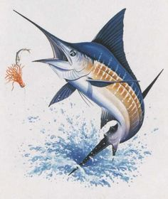 BIG BLUE MARLIN FISH MARINE CROSS STITCH PATTERN