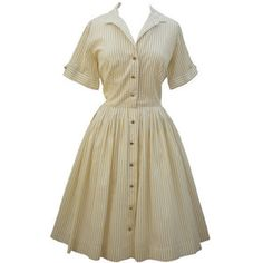 Love Mis Dasiy-Caramel stripe 50s housewife dress