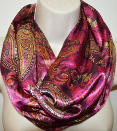Pink paisley infinity scarf women colorful by byJuliasDesigns