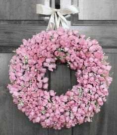 Elegant Mini Pink Rose Bud Wreath with hundreds of rose buds individually placed!Beautiful door décor as the weather warms!