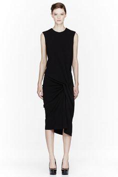 LANVIN Black side-gathered Dress