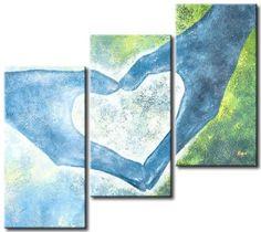 ručně malovaný obrazový set, třídilný set, vícedílné obrazy, láska, ruce, modrá, tyrkysová, zelená, hnědá, spojení.
