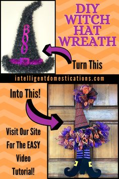 Our Easy to follow tutorial with video will help you make your own Witch Hat Wreath for your Halloween front door. Choose your own colors with our supply list. Use this wreath inside or outside. The legs will kick around when the wind blows. Find even more Halloween ideas in this post to make your season family friendly and fun. #halloween #halloweenwreath #diywreath