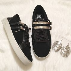 NEW Michael Kors Kimberly Buckle Sneakers! NEW Michael Kors Kimberly Suede Double Buckle Sneakers! Size: 7.5. Color: Black with silver hardware. Never worn, no box. These are MK, the higher end of the brand, NOT MICHAEL Michael Kors. VERY edgy & unique style of sneaker that features double silver buckles over the laces & silver caps at end of laces. MK logo is stamped several places on these awesome kicks! (photo 3).   -Leather/Suede upper -Silver-tone hardware -Lace-up -Platform & heel…
