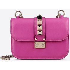 Valentino Garavani Small Chain Shoulder Bag (24.431.380 IDR) ❤ liked on Polyvore featuring bags, handbags, shoulder bags, fuchsia, chain strap handbag, studded purse, studded handbags, studded shoulder bag and purple handbags