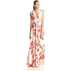 Rachel Zoe Women's Pammy Silk Floral Swirl Maxi Dress ($244) ❤ liked on Polyvore