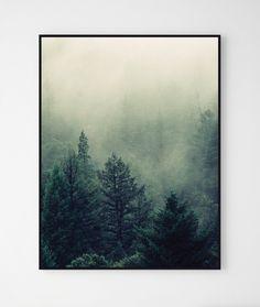 Las we mgle 50x70 - zestaw dwóch plakatów - Szare-Kropki - Wydruki cyfrowe