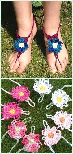 Crochet Daisy Flower Barefoot Sandals Free Pattern - Crochet Women Barefoot Sandal Anklets Free Patterns