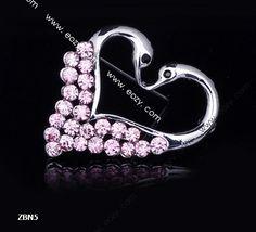 4x3cm Pink Charm Elegant Love Heart Swan Unique Crystal Pin Brooch Rhinestone