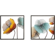 Two pieces of wall art with a floral theme.Product: 2 Piece wall art setConstruction Material: IronCo...