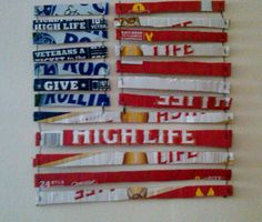 Using scraps from Miller High Life & Rolling Rock boxes for American Flag decor - for a apartment (Alex)