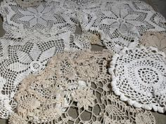 In this listing you will find 8 vintage crochet doilies in cream and tan. Most have stains and would be perfect to dye. You get 1 rectangle, 2 smaller round, and 5 large round. These would be perfect for you next crafting project. Sold as is.
