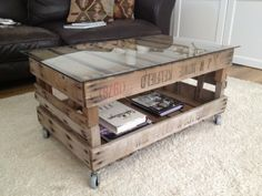 Vintage wooden crate coffee table
