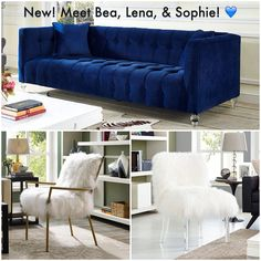 tov furniture bea navy blue tufted velvet sofa w lucite legs - Tov Furniture