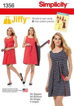 S1356 Misses' Jiffy® Reversible Wrap Dress | Vintage 1970s | Easy