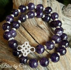 Amethyst Micro Pave Beaded Stretch Bracelet Duo  *FREE SHIPPING* by BlissbyCori on Etsy