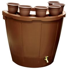 KoolScapes RBBP-50 50-Gallon Brown Rain Barrel with 5 Planters