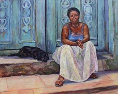 "Cuba: Through Lens and Brush Show ""Las Amigas"" 16 x 20 inch oil"