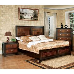 Furniture of America Anteia Duo-Tone 3-Piece Acacia and Walnut Bedroom Set | Overstock™ Shopping - Big Discounts on Furniture of America Bedroom Sets I love this set!!!! Would love to have 2 nightstands with it :)