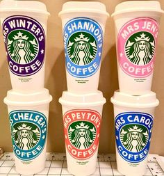 Gifts For Teachers - Personalized Starbucks Cups - Many Colors