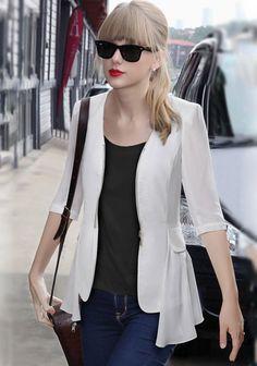 White Plain Zipper Chiffon Blazer