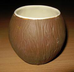Vintage Brown Ceramic Trader Vic Vic's Vics USA Coconut Drink Cup Tiki Bar 16 oz