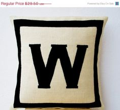 10 OFF Personalized Monogram throw pillow Burlap by AmoreBeaute
