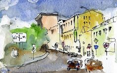 Quick watercolor painting sketch using the 6 tools. ~ Artist Daily.