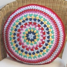 Round Crochet Pillow Cover/Crochet Cushion Cover/Crochet Cover/Pillow Cover/Mandala Cushion/Bright Cushion Cover/Crochet Pillow/Boho Crochet by PatchKnitStitch on Etsy