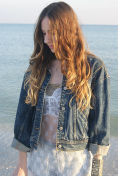 Vintage Jordache Oversized Denim Jacket by MonReveandCo on Etsy, $45.00 Rocker Outfit, Oversized Denim Jacket, Be Natural, Black Pants, Breast, Sleeves, How To Wear, Jackets, Outfits