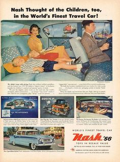 1956 Nash Ambassador 4-Door Sedan,   note that husband and wife are no longer side-by-side. He is driving, she....WTF
