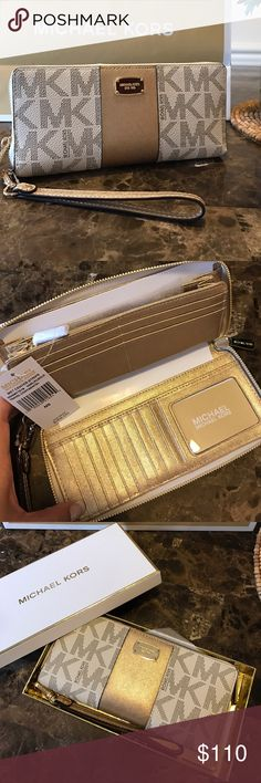 🆕MK Wallet Met Center Stripe Travel Continental NWT Brand New 100% authentic  Michael Kors Met Center Stripe  Wallet Travel Continental  Vanilla/Gold  Comes in a gift box for the holidays  Continental Zip Around Travel Wallet Brown Light Gold saffiano leather and PVC Detachable wrist strap   Retail $168 Measures 8.5 wide by 4.5 inches tall when closed Zip around closure Two bill compartments with 16 credit card slots Center zip pocket 3 receipt compartments  Bundle & Save $$$$$ Check Out My…