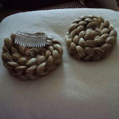 Ram's Horn Hair falls for Medieval Garb Made by original poster. Braids sewn to hair combs. Renaissance Hairstyles, Historical Hairstyles, Victorian Hairstyles, Renaissance Fashion, Renaissance Clothing, Burgendy Hair, Medieval Hats, Hair Products Online, Cosplay Wigs