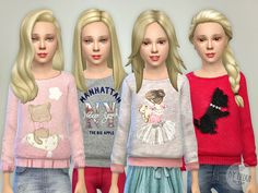 The Sims Resource: Printed Sweatshirt for Girls P03 by lillka • Sims 4 Downloads