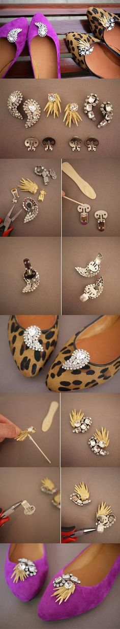 12 Interesting And Useful Daily DIY Ideas, DIY Shoe Clips. I love the rhinestone shoe clips! Do It Yourself Mode, Do It Yourself Fashion, Shoe Makeover, Diy Jewelry, Jewelry Making, Do It Yourself Inspiration, Style Inspiration, Diy Accessoires, Shoe Crafts