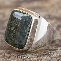 Men's jade ring, 'Fortitude' - Men's Jade and Sterling Silver Signet Ring
