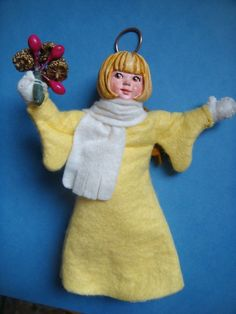 SIMPICH ANGEL Joy (?) CHARACTER DOLL CHRISTMAS ORNAMENT YELLOW ROBE in Collectibles, Holiday & Seasonal, Christmas: Current (1991-Now) | eBay