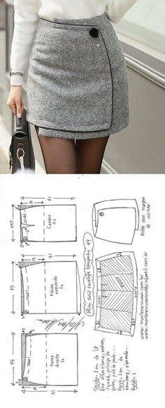 Mini saia envelope - DIY - molde, corte e costura - Marlene Mukai