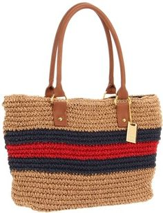 Tommy Hilfiger Rugby Stripe Straw Tote - Polyvore